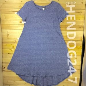 LULAROE CARLY DRESS HEATHER BLUE W/LINES ALLOVER
